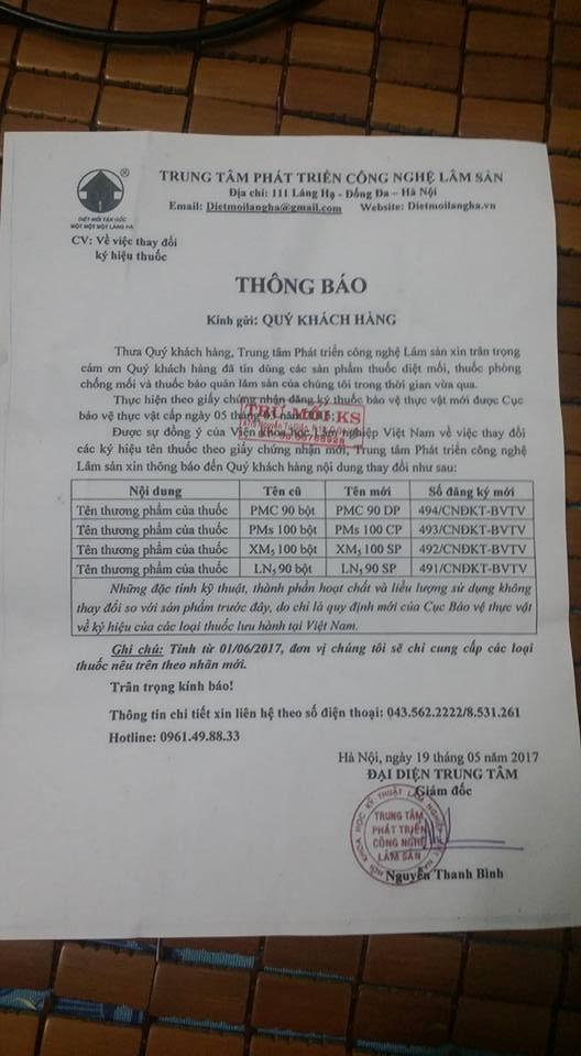 Bang Chung Nhan Doi Ten Thuoc Pmc 90 Thanh PMC 90 DP